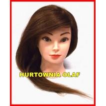 Główka fryzjerska ciemny blond 100% naturalny włos + statyw